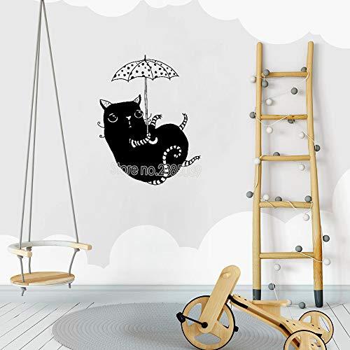 yaoxingfu Neuheiten Katze Mit Regenschirm Wandaufkleber Für Kinderzimmer Vinyl Nette Wandhauptdekor Abnehmbare Baby Kindergarten Tapete Hot L rot S 42 cm x 53 cm