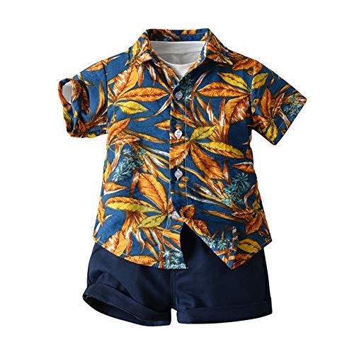 Juego de 3 piezas de verano para niño, camisa de manga corta, impresión hawaiana floral + camiseta de color liso + pantalones cortos de playa, vacaciones multicolor 18- 24 meses