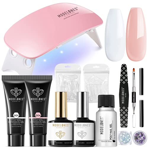 Modelones Nail Extension Gel Kit with 48 Pcs Nail Tips, 2 Colors Clear Nude Poly Nail Gel Kit with U V Lamp/ Top and Base Coat/Essential Manicure Tool Natural Skin Tone Nail Art DIY Salon