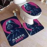 Star Wars Poster Death Star Bathroom Antiskid Pad,Bathroom Rug Mats,Set 3 Piece Anti-Skid Pads Bath Mat+Contour+Toilet Lid Cover
