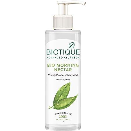 Biotique Bio Morning Nectar (Visibly Flawless Shower Gel, 100% Soap Free) Body Wash, 200 ml