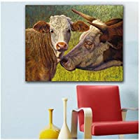 キャンバスの絵画の装飾大きな壁の芸術牛の愛情リビングルームの家の装飾のためのキャンバスの絵画キャンバス上のフレームレスの油絵-50x105cm1pcsフレームなし