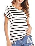 Haola Women's Striped Tops Summer Casual Round Neck Short Sleeve Blouse T-Shirt V Neck Black White Stripe M