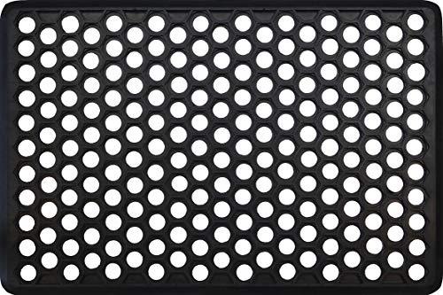 IDMAT Tapis caillebotis hexagone Bords biseautes 40x60cm, 100% Caoutchouc, Noir, Taille Unique