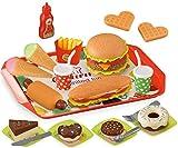 WLDOCA Pretend Play Fast Food Set 49 Piece, Play Food für Kinder Küche - Play Küchenzubehör - Toy Foods mit Play Burger und Hot Dog Plastic Food für Pretend Play, Kindergeburtstagsgeschenke