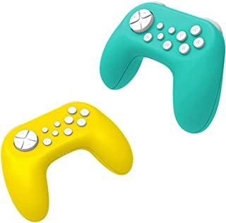 Shop-Always 2個セット Nintendo Switch用 ワイヤレスコントローラー 無線コントローラー ジャイロ搭載 スイッチ USB充電式 十字キー 3モード ◇TNS-19075S-2SET イエロー&ターコイズ