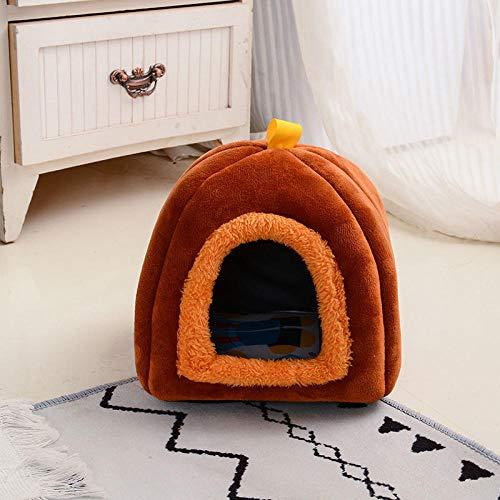 Cama para Perros de Felpa Suave y cálida Cama para Perros Cama para Dormir mullida sofá para Mascotas Perros pequeños y medianos de Varios tamaños -Mini marrón_pequeño