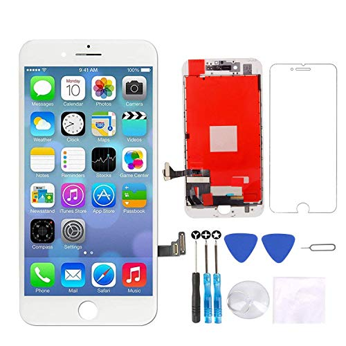 White Replacement Screen for iPhone 7 Plus 5.5 LCD Touch Display Screen Digitizer Frame Assembly Replacement with Repair Tool Set