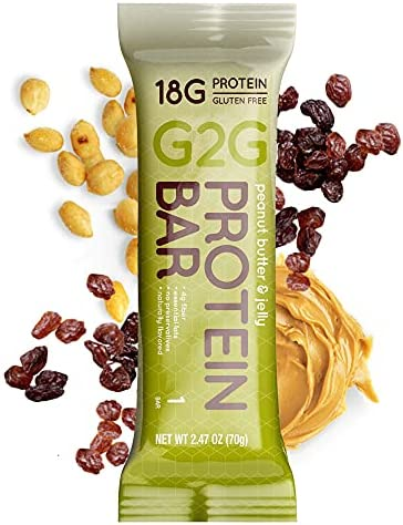 G2G Protein Bar, Peanut Butter & Jelly, Healthy Snack, Delicious Meal Replacement, Clean Ingredients, Refrigerated for Freshness, Gluten Free, 8 Count (Pack of 8)