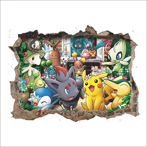 Pokemon Go - Adhesivo decorativo para pared (PVC, diseño de Pikachu, anime,...