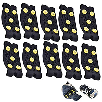 Ioffersuper 5 Pair Snow Ice Climbing Anti Slip Spikes Grips Shoes Cover (5 Pair)