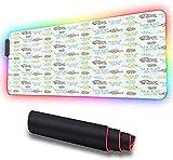 Alfombrilla de ratón RGB para juegos, animales de acuario, peces tropicales a, alfombrilla de ratón LED extendida con base de goma antideslizante, alfombrilla suave para teclado de