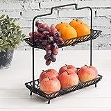 MyGift 2-Tier Vintage Design Matte Black Tabletop Metal Wire Fruit/Cupcake Display Tower