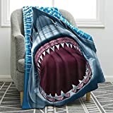 Jekeno Great White Shark Mouth Blanket Ocean Animal Soft Warm Print Throw Blanket for Kids Adults Gift 50'x60'