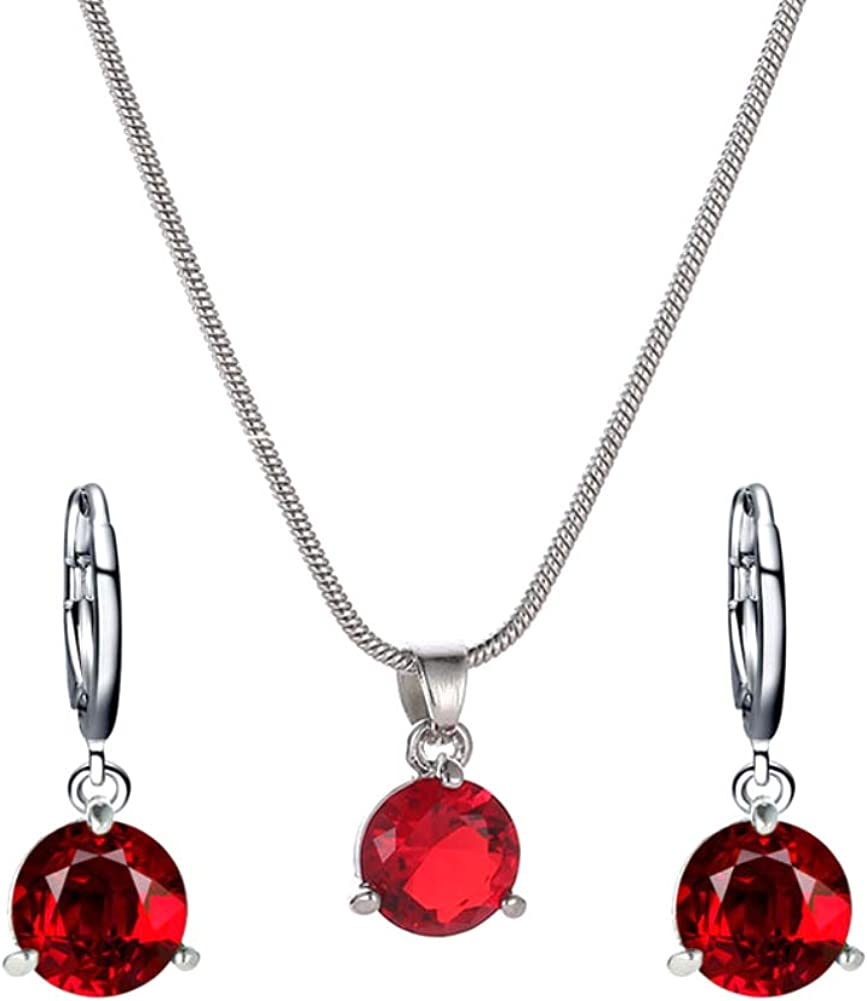 856Store-Adjustable All-Match Pendant Decorative ,Women Round Cubic Zirconia Pendant Chain Necklace Hoop Earrings Jewelry Set - Red