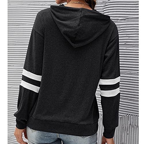 Yokbeer Sudadera con capucha para mujer, de manga larga, relajada, a rayas, casual, moda primavera y otoño, para mujer S-XXL (color: negro, talla: XL)