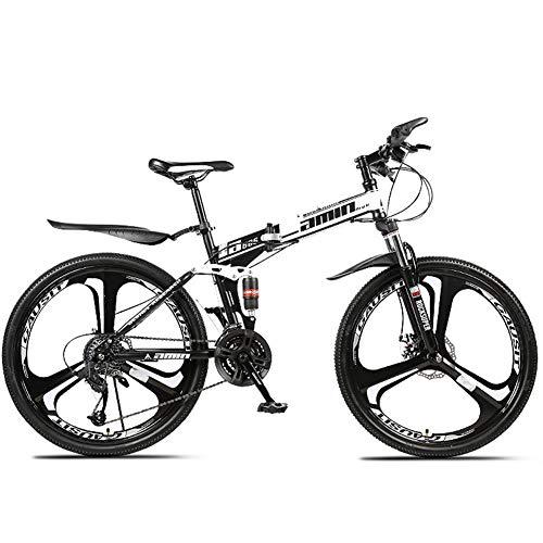 YIWOZA Mountain Bike Unisex, Bicicletas de Montaña 26 Pulgadas, para Hombre y Mujer MTB Bike con Asiento Ajustable, Freno de Doble Disco(3cutter Wheels),WHITEBLACK,21 Speed