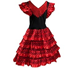 Vestido Flamenco Disfraz Sevillanas Rosa Rojo Topos (Rosa, 0-1 ...