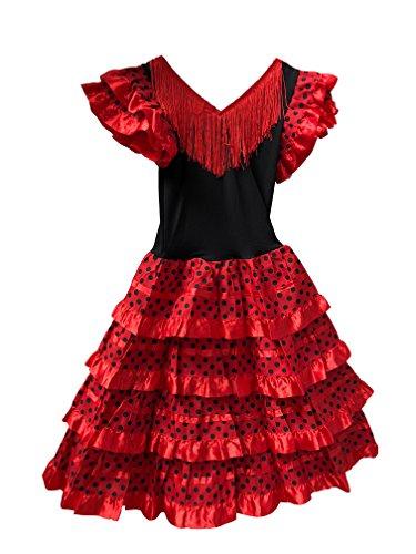 Vestido Flamenco Disfraz Sevillanas Rosa Rojo Topos (Rojo, 2-3 Años)