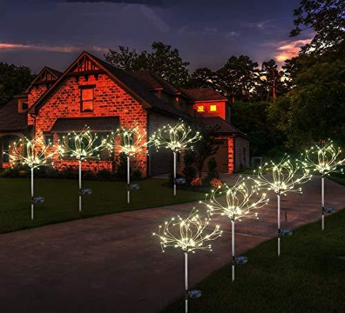 Preisvergleich Produktbild Sunboia 2er Stück Solarleuchte Feuerwerk led 40 Zweige 120 LEDs Solar Starburst Lichter für Hochzeit Weihnachten Außenbereich- Dekoration Lichter weiß