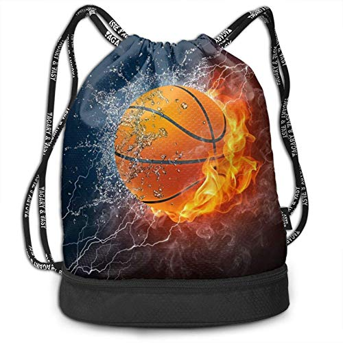 XCNGG Drawstring Backpack,Basketball On Fire And Water Flame Splashing Print Sport Travel Gym Bundle Backpack Bag