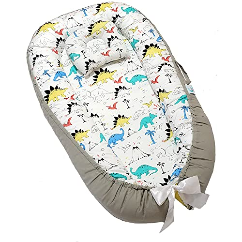 Bitsy-Boo Newborn Safety Portable Bed Crib Lounger Baby Nest Sleeper Bassinet 100% Cotton & Hypoallergenic Baby Bed for 0-12 Months Safari