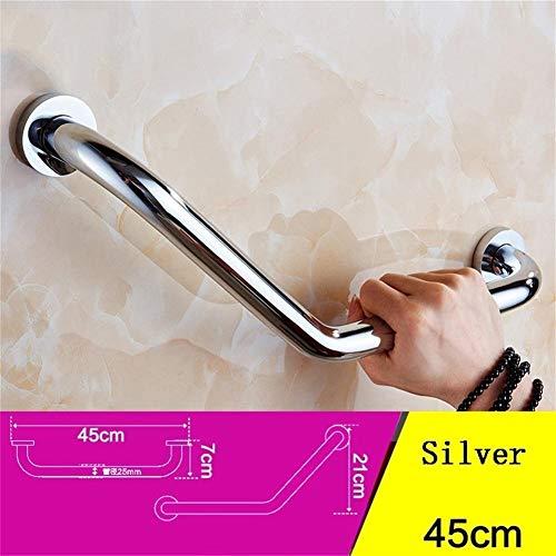 LJF Badezimmer Kupfer Anti-Rutsch-Gebogene Geländer, Badezimmer WC Barrierefrei ältere Kinder Geländer Handlauf-8.29 (Color : Silver)