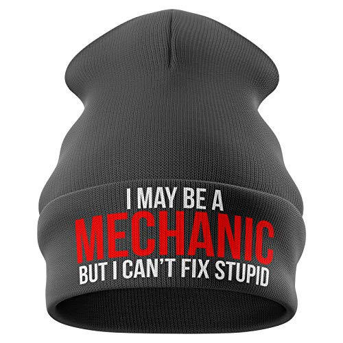Purple Print House Mechanic Gifts May Be a Mechanic Cant Fix Stupid Funny Beanie Hat Mechanics Gifts Winter Hat Mens Gifts Dark Grey