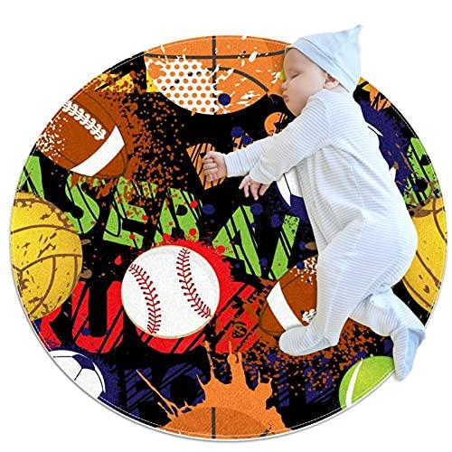 Alfombra de cocina antideslizante lavable círculo alfombra redonda alfombra de baño infantil dormitorio pelotas de deporte béisbol baloncesto fútbol fútbol patrón 27.6 x 27.6 pulgadas