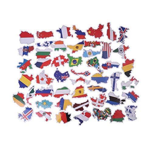 FADACAI 50 Stück Nette Weinlese-Minipapier-Aufkleber-Dekorations-Aufkleber Cartoon Nationalflagge-Design DIY für Handwerkstagebuch Scrapbooking Planer Kawaii Aufkleberaufkleber