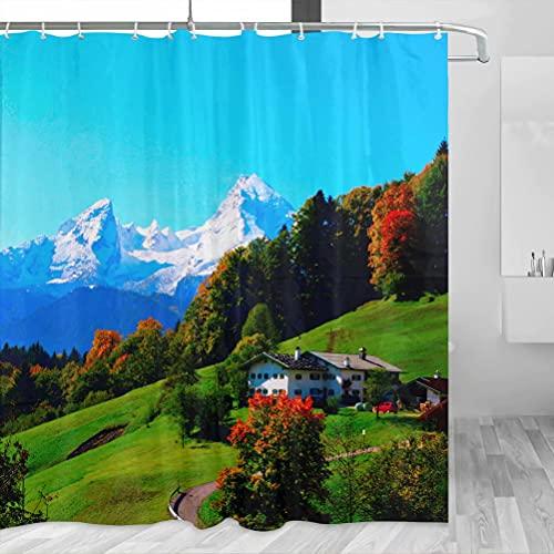 Deutschland Berchtesgaden Bayern Watzmann Duschvorhang Reise Badezimmer Dekor Set mit Haken Polyester 183 x 183 cm (YL-02210)