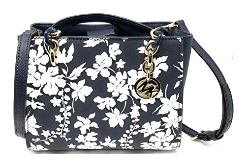 "Navy Blue Saffiano Leather with White Floral Print. Gold-tone hardware. Magnetic Snap Closure. Double handles with 6"" drop. Interior Center Zip Compartment, Zip and Slip Pocket. 8"" H x 4.5"" D x 9.5"" L"