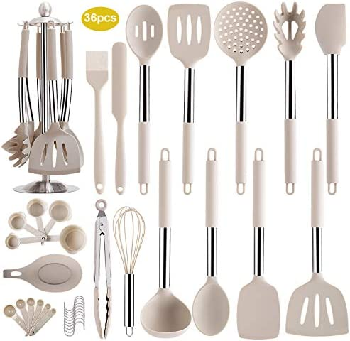 36PCS Silicone Kitchen Cooking Utensil Set with Stainless Steel Handle Spatula Set with Utensil product image