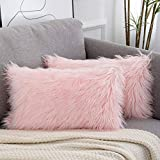 WLNUI Set of 2 Spring Decorative Lumbar Pink Fluffy Pillow Covers New Luxury Series Merino Style Blush Faux Fur Throw Pillow Covers Fuzzy Cushion Case 12x20 Inch