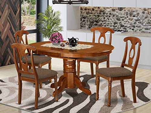 East-West Furniture AVNA5-SBR-C dinette table set- 4 Fantastic dining room chairs - A Wonderful round wooden table- Microfiber Upholstery seat and Saddle Brown Finnish Butterfly Leaf kitchen table