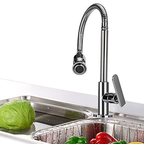 Wasserhahn Küche 360 Grad drehbar Küchenarmatur Kaltwasserhahn mit Flexibel Hals für Bar Badezimmer Wäsche Zimmer Garten - 2