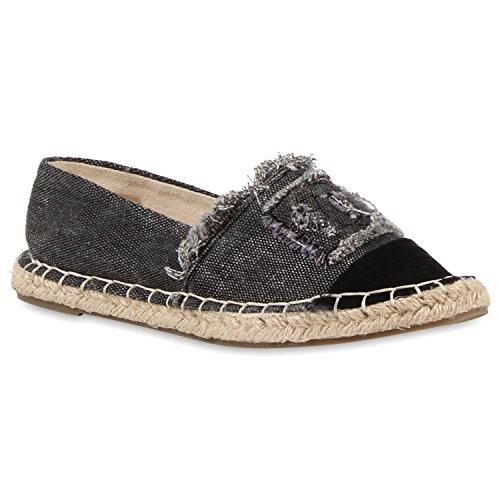 stiefelparadies Damen Schuhe Freizeit Slipper Espadrilles Blumen Bunte Flats Stoff Bast 118128 Schwarz Brito 33 Flandell