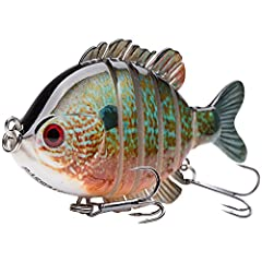 The high quality hard swimbaits made of ABS material can withstand the wear and tear from fighting fish Cranking with topwater depth from one to three feet The 3D bluegill is 6-segment jointed to enhance the life-like swimming action, which causes th...