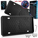 Skyignite Anti Theft License Plate Frames, 2 PCS License Plate Holders, Rattle-Proof | Weather-Proof | Rust-Proof | 100% Street Legal | Fits Any US Standard Car, Trucks, and SUV's | Bonus Present.