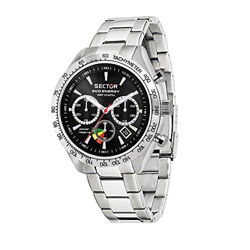 SECTOR NO LIMITS Herren Chronograph Solar Uhr mit Edelstahl Armband R3273613002