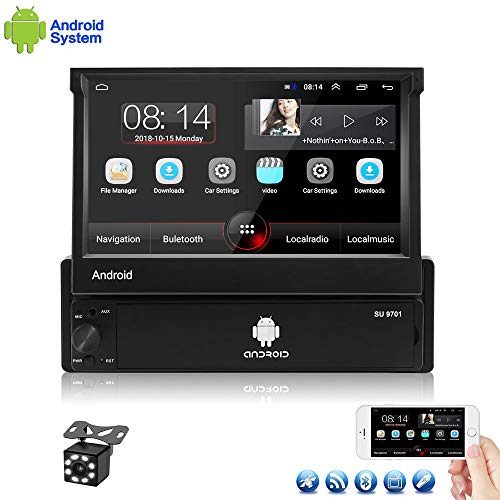 Car Radio Android 8.1 Single Din Car Stereo 7 Inch Flip Out Touch Screen 4 Core Car Radio Bluetooth 1+16G Indash Support GPS Navigation/Wifi/Mirror Link/FM/AUX/DVR/SWC/USB Car MP5 Player+Backup Camera