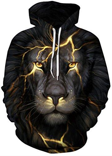 Leslady Unisex Hoodies Kapuzenpullover Damen 3D Druck Galaxy Langarm Sweatshirt Kapuzenjacke mit Taschen(2X-Large/3X-Large, 1-Lion Lightning)