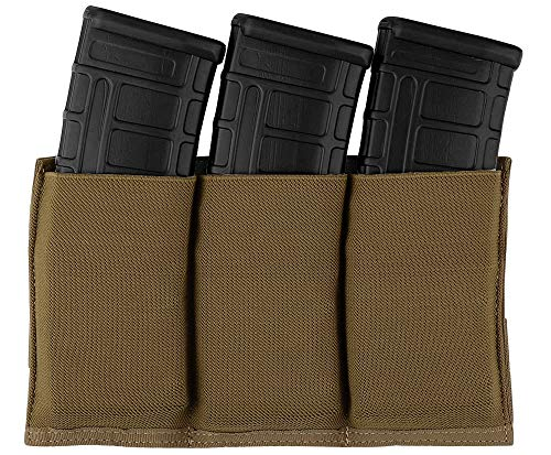 KRYDEX Molle 5.56mm Triple Magazine Pouch Speed Mag Pouches for .223 5.56 Magazine (Coyote Brown)