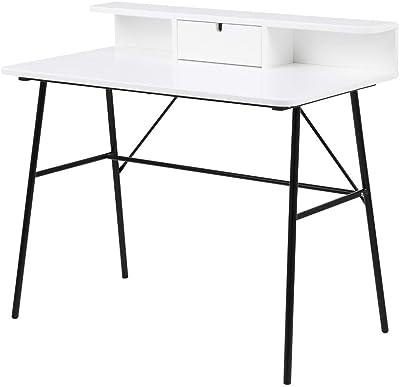 Selsey BROVA - Bureau Design/Bureau Industriel - Blanc/Noir - 100 cm - en métal - Style scandinave