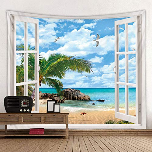 Tapices Tapiz Colgante De Pared,Ocean Wave Palm Tree Tropical Landscape Window View Rectángulo Hippie Trippy Bohemian Artwork Print Gran Tamaño Manta De Arte Moderno Alfombra Decoración para Dorm