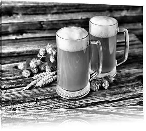 Pixxprint Bier Bierglas als Leinwandbild | Größe: 100x70 cm | Wandbild| Kunstdruck | fertig bespannt