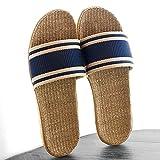 HUSHUI Bañarse Sandalias Zapatillas para Mujer,Sandalias de casa Antideslizantes, Zapatillas de Interior de Lino de Suela Gruesa-Navy_42-43,Zapatos de Playa y Piscina para