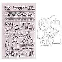 カード作成用のカッティングダイ付きクリスマス新年シールスタンプエンボス加工用のDIYステンシルテンプレート