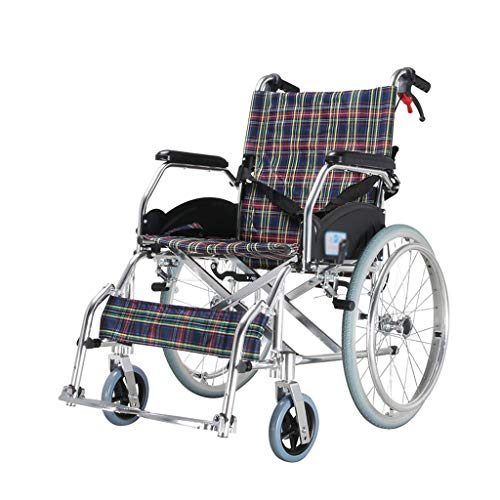 XF Rollstuhl, Aluminiumlegierung Fahrhandbuch Transportstuhl Ultraleichtes, tragbares Trolley-Fahrpedal zusammenklappbar, Tragfähigkeit bis 130 kg, Sitzbreite 46 cm Sessel ( Color : Flower plaid )