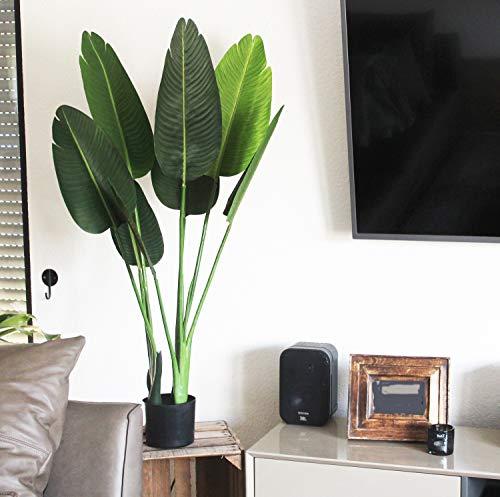 Arnusa Künstliche Strelizie 120 cm Kunstpflanze Zimmerpflanze Paradies Pflanze Wohnzimmerdeko